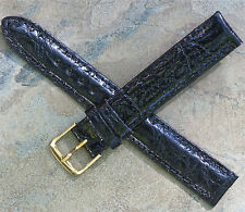 Black Genuine Crocodile 16mm American vintage watch band 1960s/70s New Old Stock