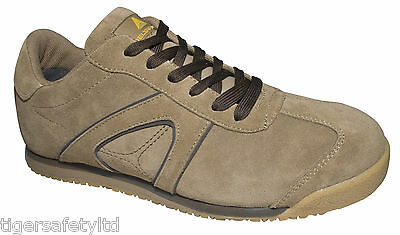 95f986552fe Delta Plus D Spirit S1P Beige Suede Mens Safety Trainers Composite Toe Cap  PPE | eBay