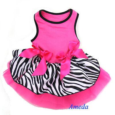 Hot Pink Zebra Ribbon Tutu Bow Small Pet Dog Cat Clothes Party Dress XS S M L