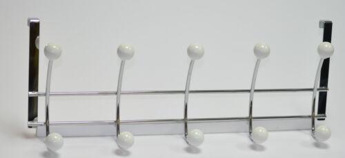 Stahl//Porzellan glanz chrom//weiss 3500 Hochwertige Türgarderobe mit 5 Haken