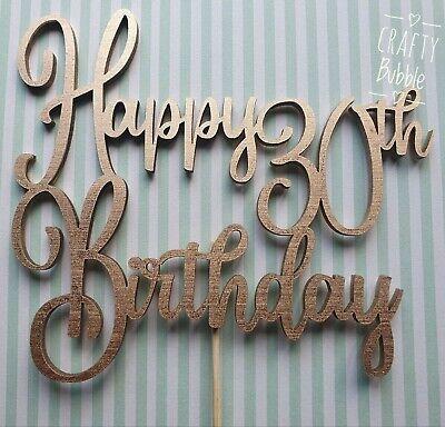** Personalizzato ** In Legno Compleanno Cake Topper-qualsiasi Età/colore Hand Made-