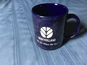 """Vintage Blue in color, New Holland Coffee Cup Mug """"We Do What We Say"""""""