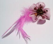 pince cheveux originale rose rose plume fleur pierres citrine bijou vintage