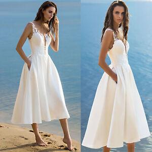 a34f43566877 Details zu Damen Midi Kleid Sommer Festlich Abend Strand Party  Cocktailkleid Hochzeit Weiß
