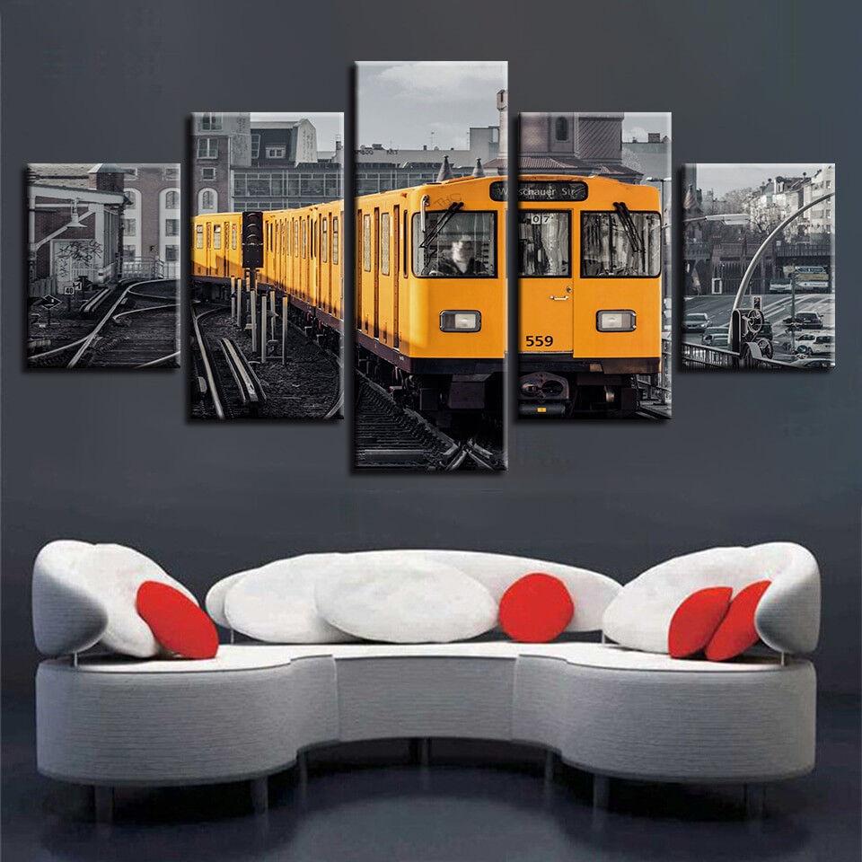Berlin City Train 5 Piece Canvas Print Wall Art