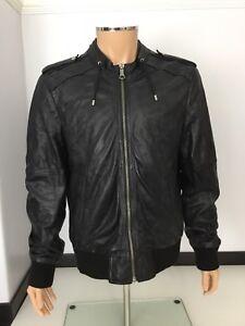 Detalles de Zara Negro 100% Chaqueta De Abrigo Bomber De Cuero Para Hombre Talla XL P2p 24