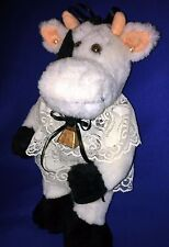 """""""Old Fashioned Look"""" PLUSH COW - Black/White - Pearls, Lace, Ribbons, Cow Bell"""