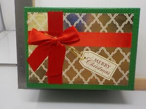 Brother Sister Design Studio Gold Red Bow Peace Joy Christmas Cards New 11675 Ebay