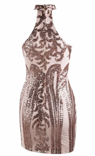 Ballo Aderente Aperto Zip Party Dress Sequin Pailette Ricamato Stampato S Abito F76xw