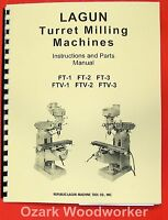 Lagun Ftv-1 Ftv-2 Ftv-3 Vertical Milling Machine Operator & Parts Manual 0427