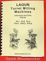 Lagun Ftv-1 Ftv-2 Ftv-3 Vertical Milling Machine Operator & Parts Manual 0427