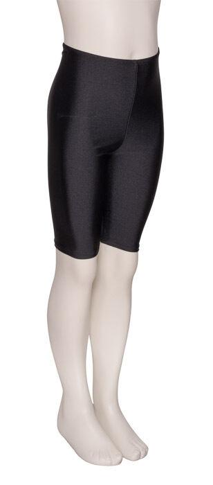 Girls Childrens Black Shiny Lycra Dance Gym Sports Running Cycle Shorts KDT004