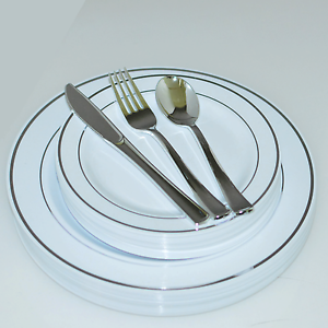 Image is loading Dinner-Wedding-Disposable-Plastic-Plates-&-silverware- silver- & Dinner/ Wedding Disposable Plastic Plates \u0026 silverware silver/gold ...