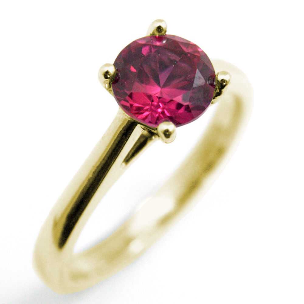 Diamond-Unique Solitaire Ruby 9ct gold Ring 1ct Engagement Ring