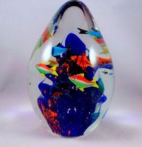 Murano Style Glass Aquarium Paperweight Egg Paperweight