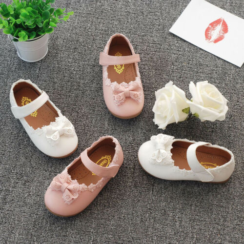Toddler Girls Lace Bow-knots Princess Party Prom Wedding Dress Shoes Soft Soles