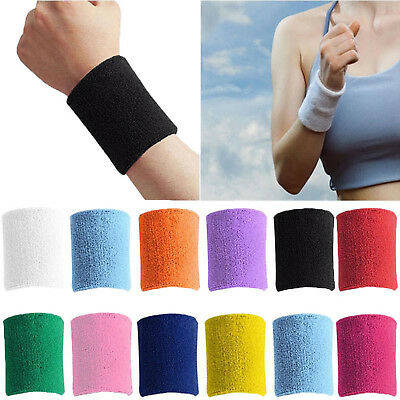 2 X Sports Wrist Sweatbands Unisex Wristband Band Tennis Squash Badminton Gym Ohne RüCkgabe