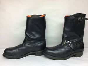 #1 VTG MENS UNBRANDED STEEL TOE ENGINEER MOTORCYCLE LEATHER BLACK BOOTS SIZE 9.5