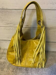 2190d374da19 Details about INNUE Genuine Yellow Leather Suede Fringe Shoulder Bag Purse  Made in Italy