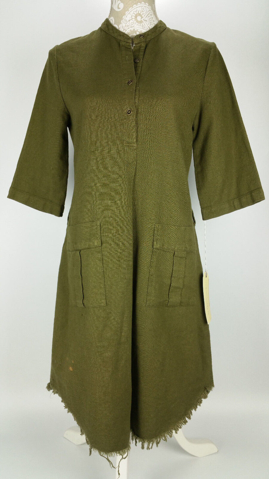 NEW Raquel Allegra Henley Cargo Dress sz 2 Medium Cotton Army Grün Safari FLAW
