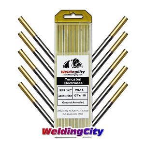 10-pk-TIG-Welding-Tungsten-Electrode-1-5-Lanthanated-Gold-5-32-034-x7-034-US-Seller