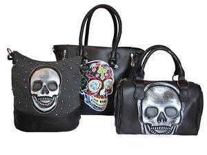 2935593e72c6e Das Bild wird geladen Handtasche-mit-Totenkopf-Schultertasche-Damen-Tasche -Bunt-Schwarz-