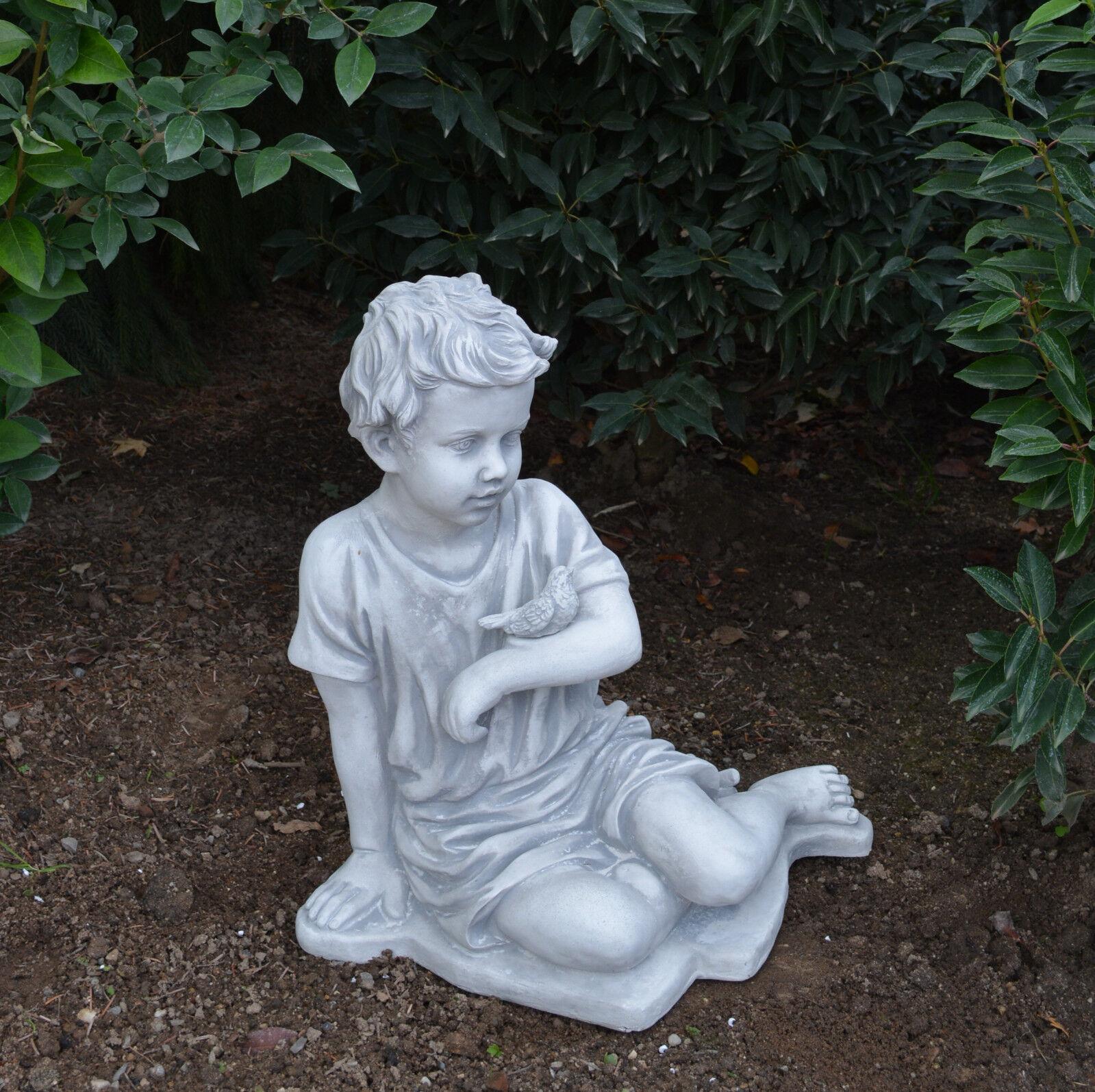 Massive piedra joven personaje con pájaro raumdeko gartendeko de piedra fundición Frost Festival