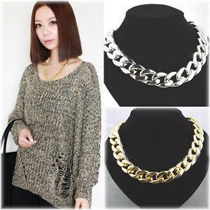 HK-Punk-Style-Cut-Aluminium-Link-Chain-Choker-Chunky-Shiny-Gold-Curb-Necklace-F