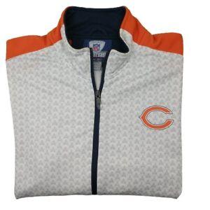 Reebok Chicago Bears Men's Medium White Orange Full Zip Track Jacket Sweatshirt