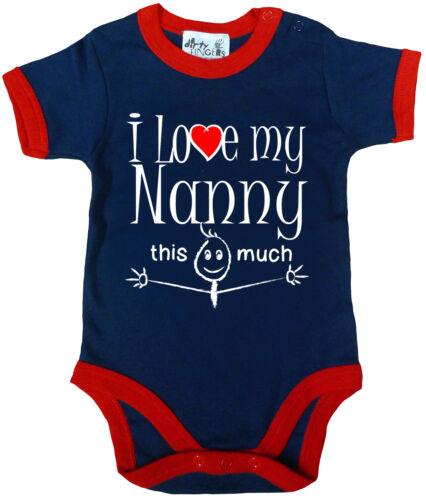 """Lustig Baby Body /"""" I Love Mein Nanny das Viel /"""" Trimmed Strampler Nan Geschenk"""