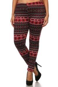 X Large Plus Fair Isle Reindeers  Print  Fur Lined Leggings