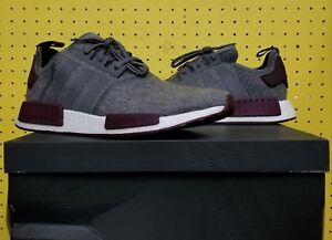 NEW NMD Details 12 Wool BRAND Adidas R1 White Maroon Grey CQ0761 Boost about Men's Sz 5 yvf76YbgI