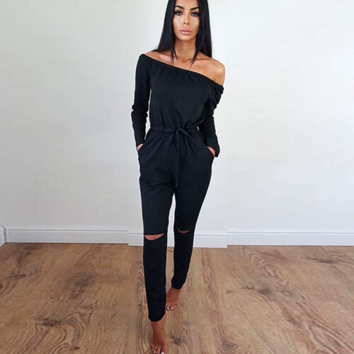 Womens Long Sleeve Ripped Jumpsuit Slim Fit Party Playsuit Romper Trousers Plain