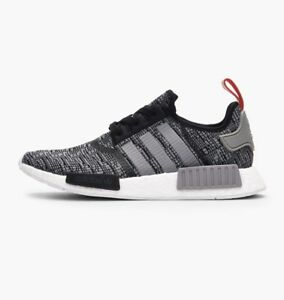 Adidas-NMD-R1-Core-Black-Grey-Red-Glitch-Nomad-Runner-BB2884-Size-7-5-11-5