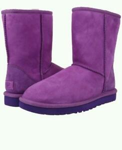 f8de593e149 Details about New NIB Ugg Classic Short Suede & Shearling Boots Crazy Plum  Purple Girls Youth