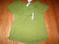 Womens Lizwear Top Shirt Buttons Short Sleeve Green Short Sleeved Large L