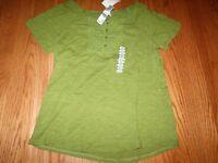 Womens Lizwear Top Shirt Buttons Short Sleeve Green Short Sleeved Large L