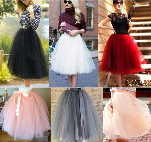 Layer Tulle Skirt Women Party Dress 50s Rockabilly Tutu Petticoat Ball Gown Long