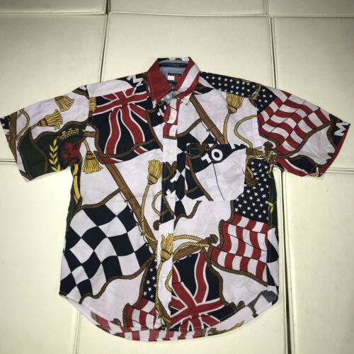 D1 TOMMY HILFIGER FLAG PRINT BUTTON UP SHIRT LOTUS VINTAGE 1994 BOYS SMALL
