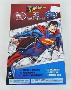 Details About Superman Valentines Day Cards Stickers Box Of 32 With Teacher Card Holiday New