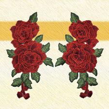 23*13cm 1 Paar Rote Rosen Blume Aufbügler Bügelbilder Patches Patch Bügelflicken