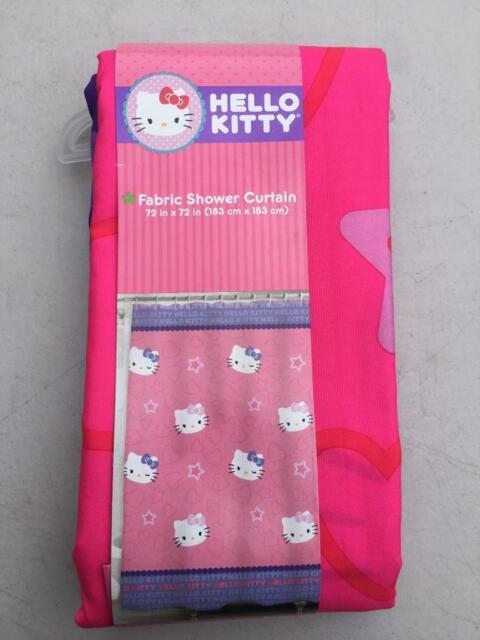 "Vintage 1976 Hello Kitty Vinyl Shower Curtain 72""x72"" Sanrio Liner Free Sh"