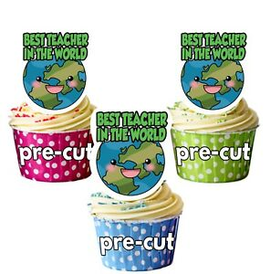 PRECUT Thank You Teacher Quote Cup Cake Toppers Decorations Fairy Bun Muffins
