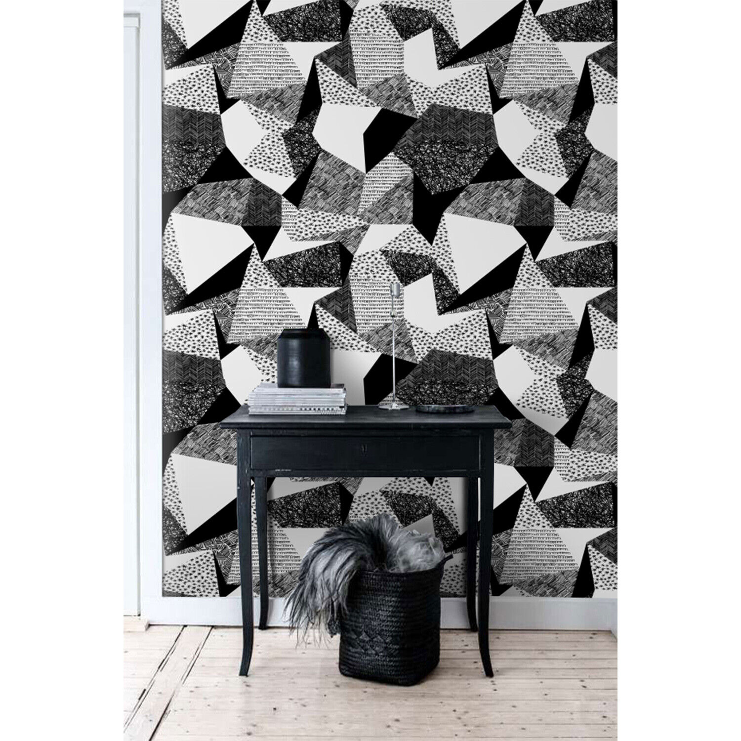 Scribbles geometric shapes pattern charcoal effect triangles monochromatic