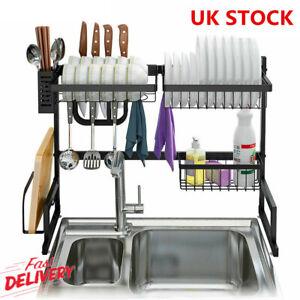Over Sink Dish Bowl Drying Rack Stainless Steel Drainer Shelf Utensils Holder UK