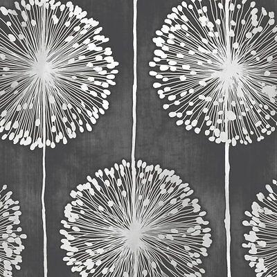 Muriva Dandelion Floral Designer Feature Wallpaper Black / Grey Flower - J04219
