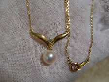 Mikimoto 18k Pearl Diamond Pendant Necklace.