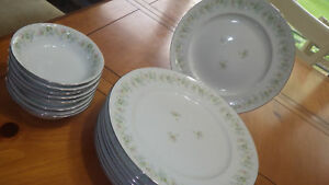 Forever Spring Dinner Plates Fruit Bowls Haviland platinum trim 8 plates 7 bowls