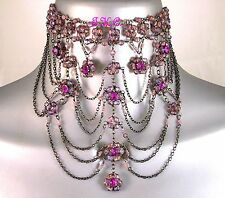 Magenta Purple Crystal Goth Victorian Moulin Wedding Prom Glass Choker Necklace