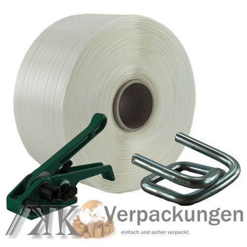 16 mm TEXTILE POLYESTER Umreifung Set umreifungsband bandspanner Métal Pinces